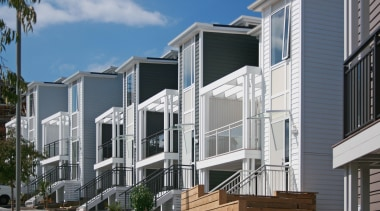 Custom-made canopies, screens and balustrades from HomePlus give apartment, architecture, building, commercial building, condominium, elevation, facade, home, house, mixed use, neighbourhood, property, real estate, residential area, siding, gray
