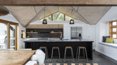 A sculptural ceiling element helps to define this countertop, cuisine classique, house, interior design, kitchen, gray