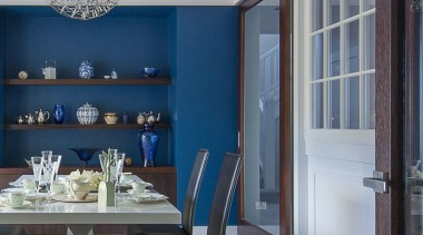 Dining room walls in Resene Prussian Blue complement ceiling, dining room, home, interior design, room, window, gray