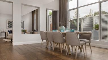 Live on, play on, work on – French chair, dining room, floor, flooring, furniture, hardwood, interior design, laminate flooring, living room, real estate, table, wood, wood flooring, gray