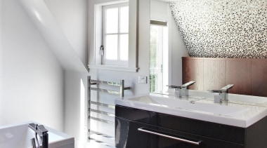 2015 Trends International Design Awards – Architect Designed bathroom, bathroom accessory, bathroom cabinet, cabinetry, countertop, floor, interior design, kitchen, room, sink, white, gray