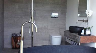 2016 Tida New Zealand Designer Bathroom 2 bathroom, bathroom sink, floor, interior design, plumbing fixture, sink, tap, gray, black