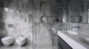 2016 Tida New Zealand Designer Bathroom 3 architecture, bathroom, black and white, floor, flooring, interior design, plumbing fixture, room, tap, tile, wall, gray, black