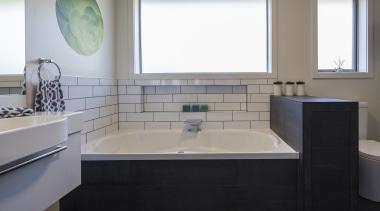 2016 Tida New Zealand Designer Bathroom 4 bathroom, floor, interior design, plumbing fixture, room, sink, gray, black