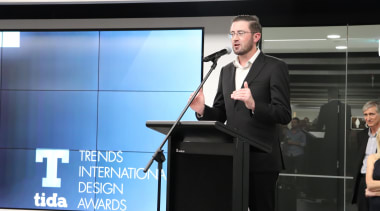 2018 Tida New Zealand Kitchens Awards Event 26 business, businessperson, communication, electronic device, orator, presentation, public relations, public speaking, speaker, speech, technology, black