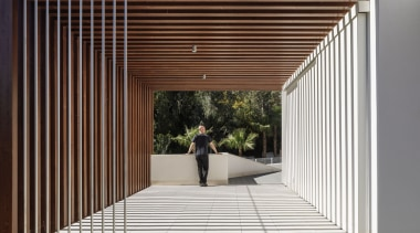 A perfectly balanced walkway architecture, daylighting, facade, house, line, structure, red
