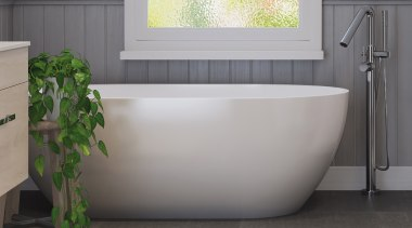A bath is the centre of any bathroom. bathroom, bathtub, floor, interior design, plumbing fixture, sink, tap, tile, gray