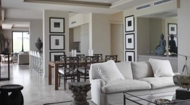 Beach House Designed To Best Display A Collection home, interior design, living room, property, real estate, room, gray
