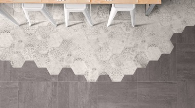 Beton Axis Hexagona Deco Mix And Beton Axis floor, flooring, line, tile, wall, wood, gray, white