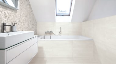 Beton Axis Hexagona Deco Mix And Beton Axis architecture, bathroom, daylighting, floor, flooring, interior design, property, room, sink, tap, tile, wall, white