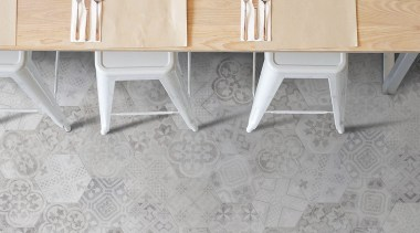 Beton Axis Hexagona Deco Mix floor, flooring, furniture, table, tile, wall, wood, gray