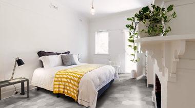 Beton Axis Hexagona Whitegrey bed frame, bedroom, ceiling, floor, home, interior design, property, real estate, room, wall, white