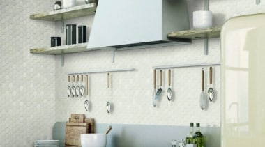 Beton Still Cotton Candy Hex Mosaic countertop, interior design, kitchen, shelf, wall, white, gray