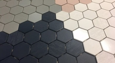 Beton Still Hex Mosaic Is Available In Four floor, flooring, material, pattern, tile, black, white