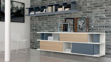 Brick One Fumo Di Londra Nero Wall chest of drawers, desk, floor, furniture, interior design, shelf, shelving, table, wall, gray
