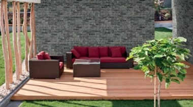 Brick One Fumo Di Londra Wall Tile backyard, couch, floor, flooring, furniture, grass, hardwood, outdoor furniture, outdoor structure, patio, table, wall, wood, gray