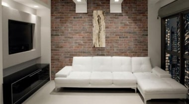 Brick One Rosso Wall Tile ceiling, couch, floor, flooring, furniture, interior design, living room, property, room, wall, gray