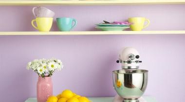Candy Sweet blue, ceramic, furniture, interior design, purple, shelf, shelving, table, wall, yellow, purple
