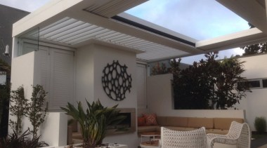 Concertina Retractable Louvre Roof ceiling, daylighting, house, interior design, property, real estate, roof, shade, window, gray, black