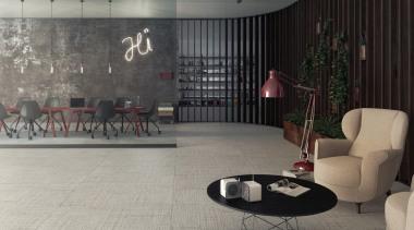 Craft Ash 2 architecture, design, floor, flooring, furniture, interior design, living room, lobby, room, table, wall, gray, black