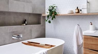 Deborah Schmideg Interior Design – Highly Commended – bathroom, ceramic, countertop, floor, home, interior design, room, sink, tap, tile, white, gray