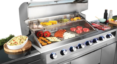 Gasmate Luxury Outdoor Kitchens 3 barbecue grill, contact grill, cookware and bakeware, cuisine, dish, food, gas stove, grilling, home appliance, kitchen appliance, outdoor grill, product, white, gray