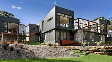 Highly Commended – 2016 Tida Australian Designer New architecture, backyard, cottage, elevation, estate, facade, home, house, neighbourhood, property, real estate, residential area, villa, yard, blue