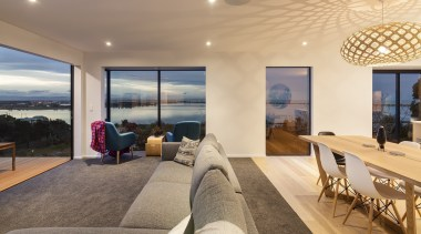 Highly Commended – 2016 Tida New Zealand Designer apartment, architecture, ceiling, estate, home, house, interior design, living room, penthouse apartment, property, real estate, window, orange