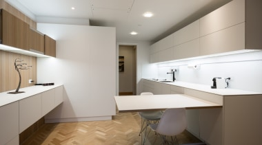 Highly Commended – Akzente – ​poggenpohl architecture, cabinetry, ceiling, countertop, floor, flooring, interior design, kitchen, real estate, room, sink, gray