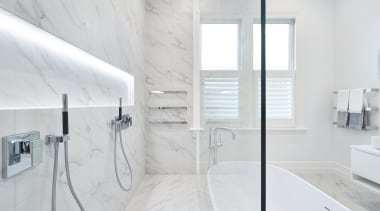 Leuschke Kahn Architects – Winner – Tida NZ architecture, bathroom, bathroom accessory, floor, home, interior design, plumbing fixture, room, tap, tile, wall, white