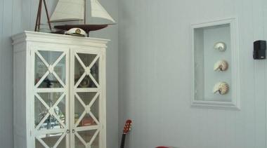 Longbeach Home 5 furniture, home, interior design, light fixture, room, shelf, shelving, wall, gray