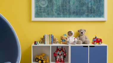 Childrens Bedroom blue, furniture, interior design, living room, paint, room, shelf, table, wall, orange, teal