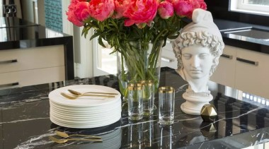 French classic-style residence by Massimo Interiors centrepiece, cut flowers, floral design, floristry, flower, flower arranging, flower bouquet, flowering plant, plant, rose, rose family, rose order, table, tableware, vase, gray, black