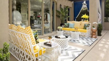 French classic-style residence by Massimo Interiors home, interior design, living room, outdoor structure, porch, real estate, yellow, gray, brown