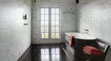 Classic marble surfaces meet modern Boffi design touches architecture, bathroom, floor, flooring, interior design, room, tile, wall, gray