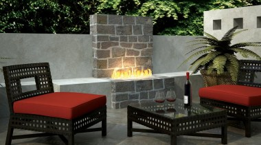 Outdoor Gas Fires 3 chair, furniture, hearth, living room, outdoor structure, patio, table, wall, black, gray