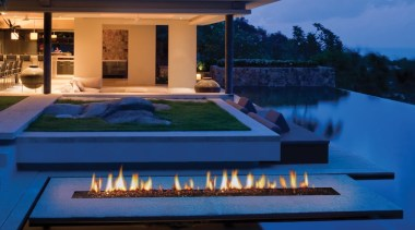 Outdoor Gas Fires 4 architecture, estate, home, house, landscape lighting, leisure, lighting, property, real estate, resort, swimming pool, villa, blue