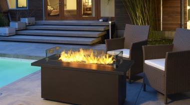 Outdoor Gas Fires 5 fireplace, furniture, hearth, lighting, patio, table, black