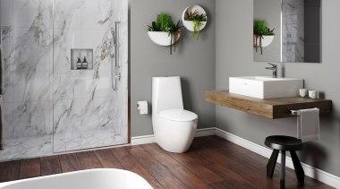 Plumbing World2 bathroom, bathroom accessory, bathroom cabinet, floor, home, interior design, plumbing fixture, room, sink, tap, wall, gray