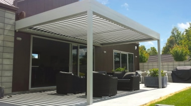 Silencio Rotating Louvre Roof canopy, outdoor structure, patio, real estate, roof, shade, structure, black, gray
