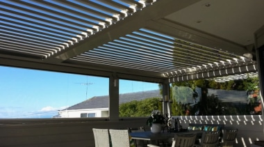 Concertina Retractable Louvres awning, daylighting, outdoor structure, roof, shade, black