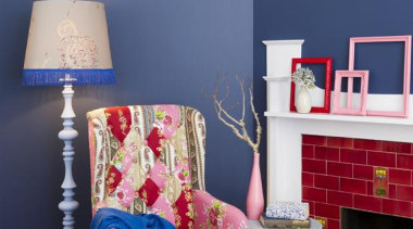 Surround Yourself In Colour bedroom, blue, chair, couch, furniture, home, house, interior design, living room, red, room, table, wall, window, blue
