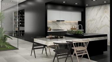 Universal Granite And Marbles Showroom dining room, floor, flooring, furniture, interior design, table, gray, black