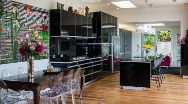 Winner – German Kitchens home, interior design, kitchen, living room, real estate, room, gray, black