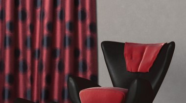 Beacon Room Flame chair, curtain, furniture, interior design, pattern, window treatment, red, gray