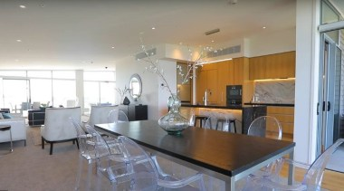 Dining area apartment, ceiling, dining room, home, interior design, kitchen, living room, property, real estate, room, table, gray