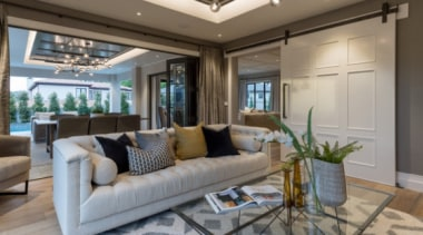 New Albany Show Home ceiling, estate, home, interior design, living room, property, real estate, room, window, gray