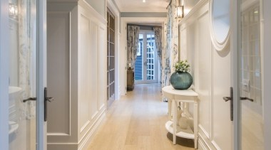 Hallway ceiling, daylighting, estate, floor, flooring, hall, hardwood, home, interior design, laminate flooring, lobby, molding, real estate, room, tile, wall, window, wood flooring, gray
