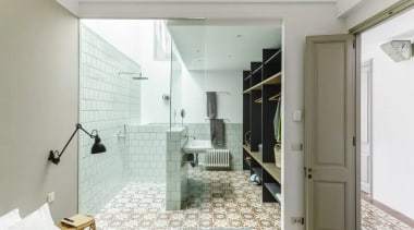 See the home architecture, bathroom, floor, home, house, interior design, property, real estate, room, gray, white