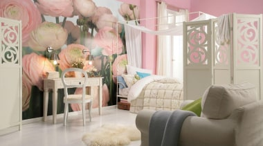 Gentle Rose Interieur bed, bedroom, furniture, home, interior design, living room, nursery, pink, product, room, textile, wall, gray